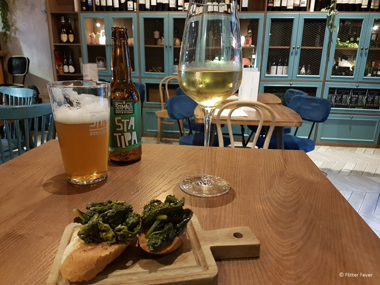 Bruchetta with friarielli as free snack with drinks at Cisterna Café Bistrot Naples