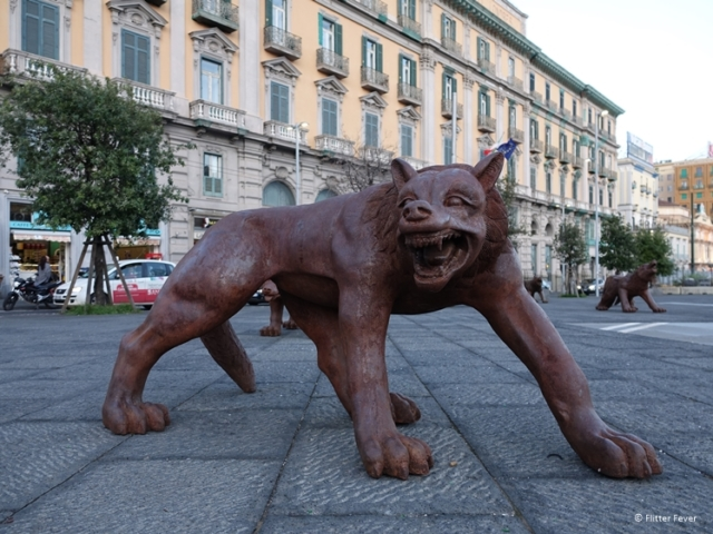 Mytical kind of wolf on a square in Naples (near Castel Nuovo)