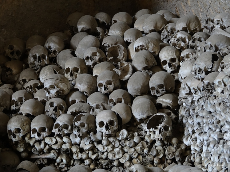 One of the many piles of skulls and bones at Cimitero delle Fontanelle Napoli