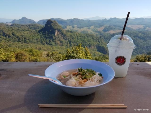 Bowl of Thai noodle soup at Saolahu Cafe Jabo, Ban Cha Bo Thailand