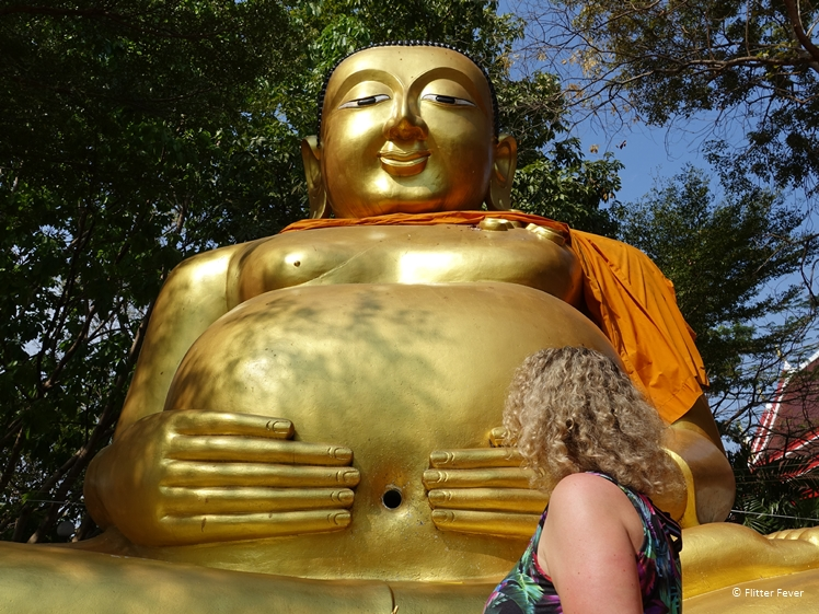 Chinese Golden Buddha with big belly at Wat Bang Nam Phueng Nok on Bang Kachao Bangkok