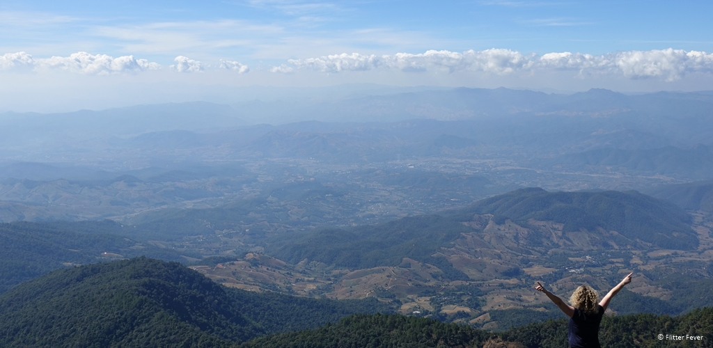 Clear panoramic view from Doi Inthanon tallest mountain Thailand