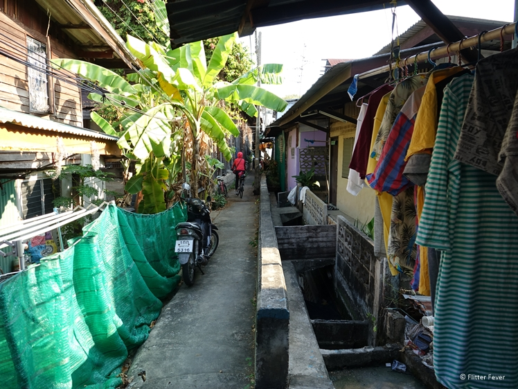 Narrow path through the slum of Bangkok