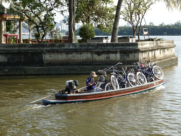 Our bicycles on a boat on the Chao Phraya River towards Bang Kachao