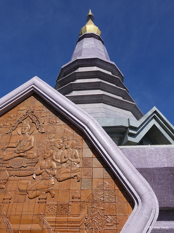 Phra Mahathat Naphaholphumisiri in Doi Inthanon National Park brown purple