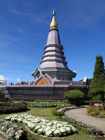 Phra Mahathat Naphaholphumisiri in Doi Inthanon National Park with flower garden front Thailand