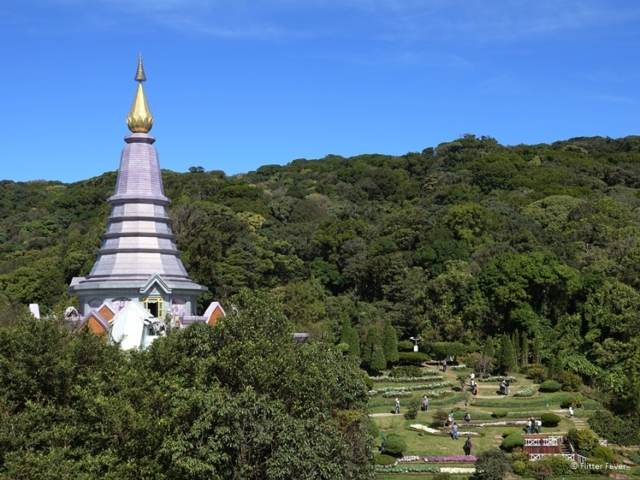 Phra Mahathat Naphaholphumisiri in Doi Inthanon National Park with forest and garden