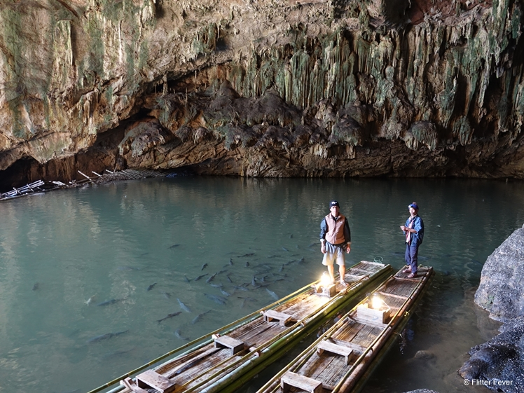 The bamboo raft skippers waiting for us to come back in Tham Lod Cave Thailand