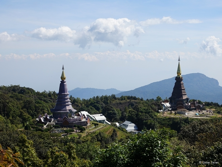 The two pagodas of Doi Inthanon National Park seen from Kew Mae Pan Nature Trail point 15