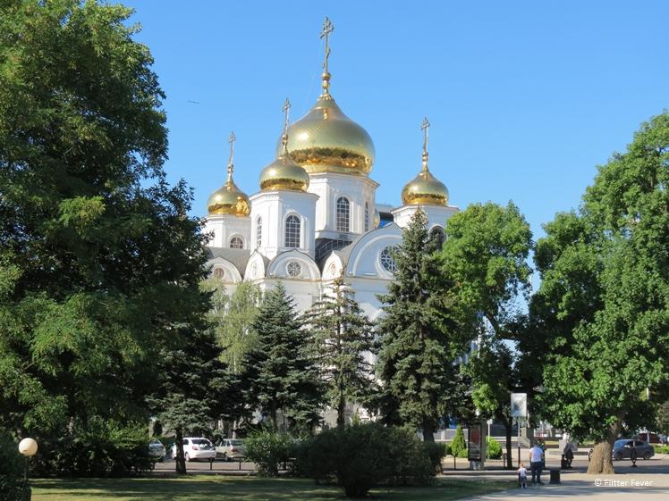 Alexander Nevskiy Cathedral Krasnodar on a bright sunny day in July