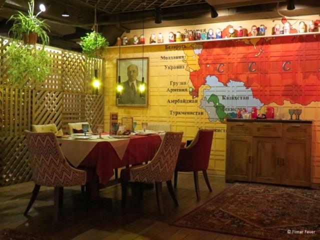 Interior of Борщberry (Borsch Berry) restaurant in Krasnodar Russia