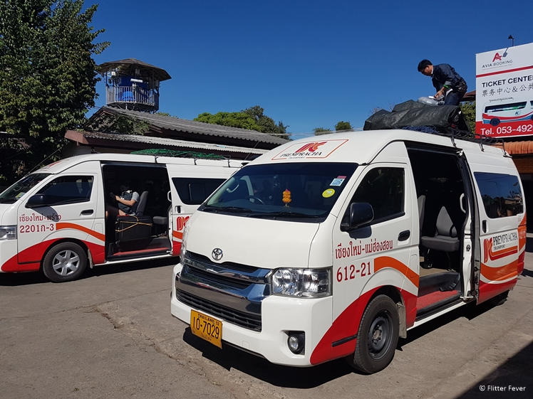 Pai bus station with mini van to Chiang Mai