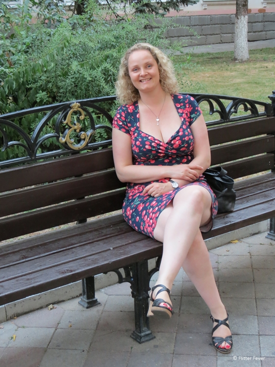 Sitting on a royal bench with my initial in Krasnodar
