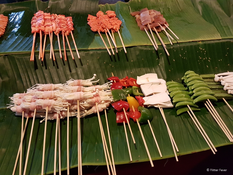 Skewers with veggies and meat at Pai night market