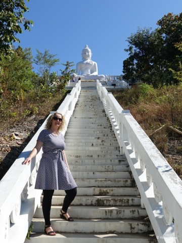 The last stairs up to the White Buddha in Pai Wat Phra That Mae Yen