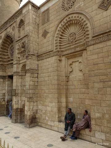 Historic Cairo Mosque of Al Aqmar two men
