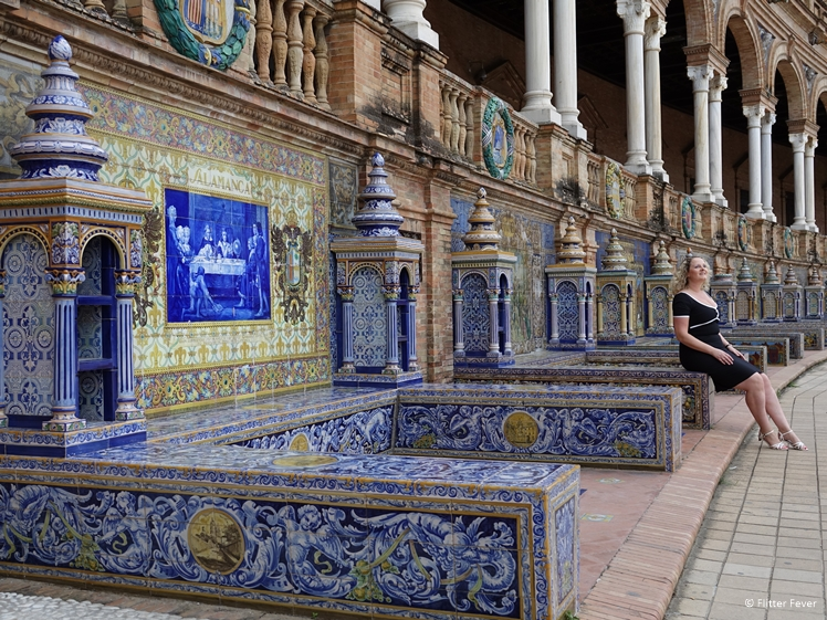 The beautiful tiled benches of Plaza de Espana Seville