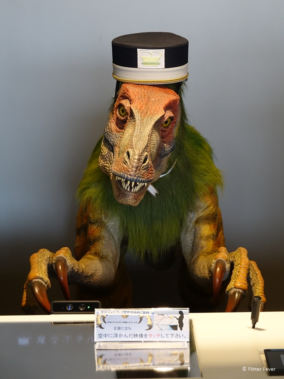 Dinosaur receptionist at robot hotel Japan