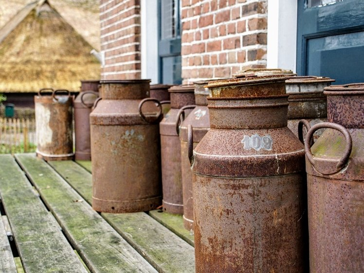 Old milk cans in Orvelte Drenthe (photo credits Is-A via Pixabay)