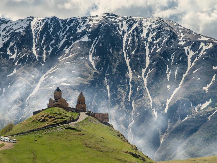 The Trinity Gergeti Church, Kazbegi, Georgia, a church on top of a mountain, is on my bucketlist for sure