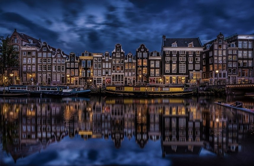 Amsterdam by night cloudy