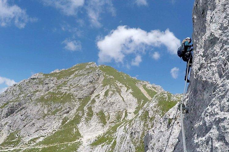 Elizabeth loves the adventure of Klettersteig mountain sports