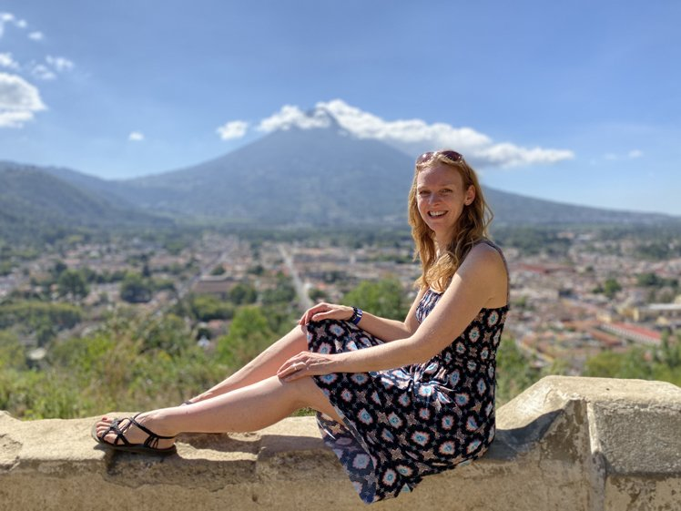 Elizabeth with the view of Guatemala in the background