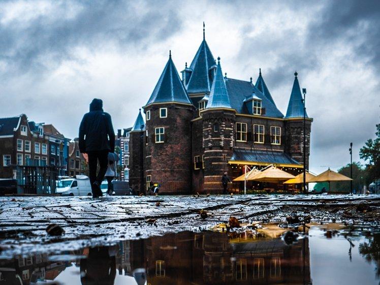Nieuwmarkt Amsterdam on a rainy day