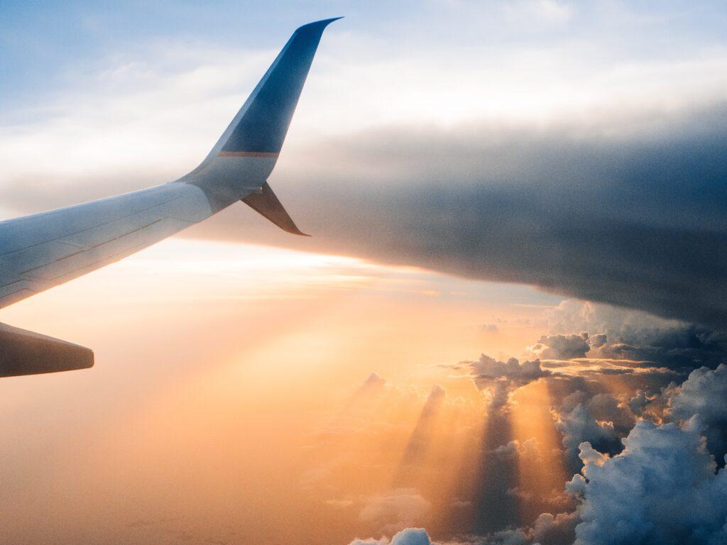 Sunrays through the clouds flight