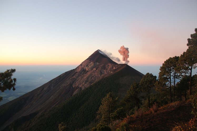 View of volcano El Fuego in Guatemala