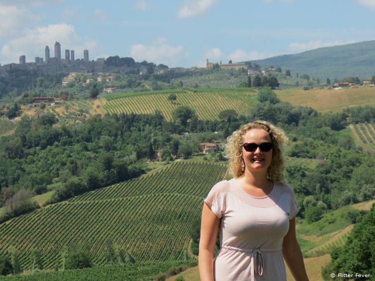 View on San Gimignano from Fattoria Poggio Alloro
