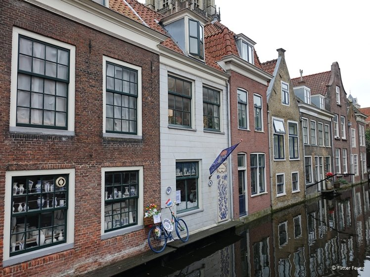 Backside of the properties at the Markt seen from Voldersgracht (Delft)