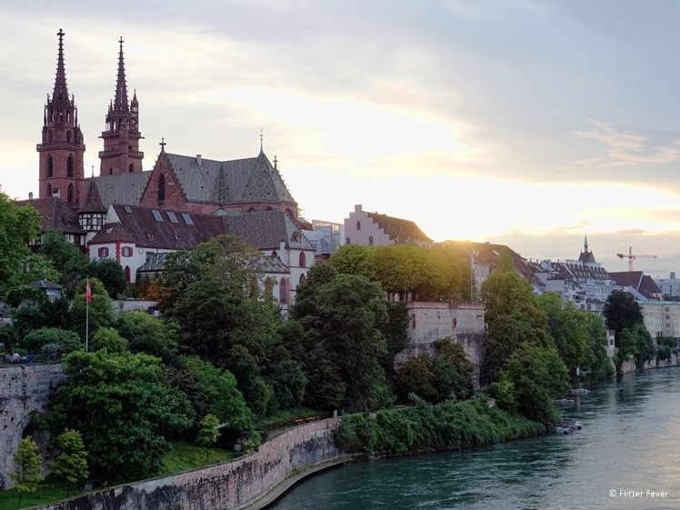 Basel Munster and Rhine River at sunset