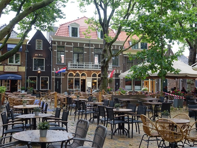 Terrace under the trees at Beestenmarkt Delft