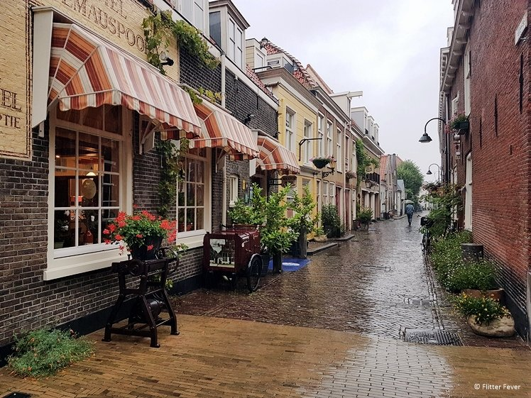 Charming Trompetstraat Delft on a rainy day