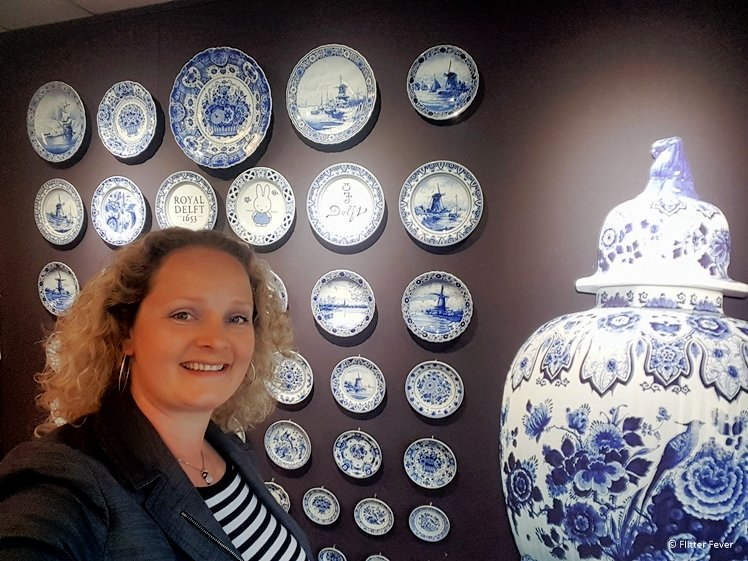 Delft Blue plates and huge vase at Royal Delft