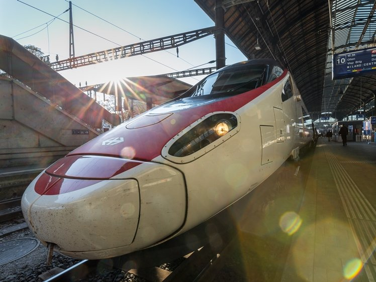 High speed train between Basel and Milano