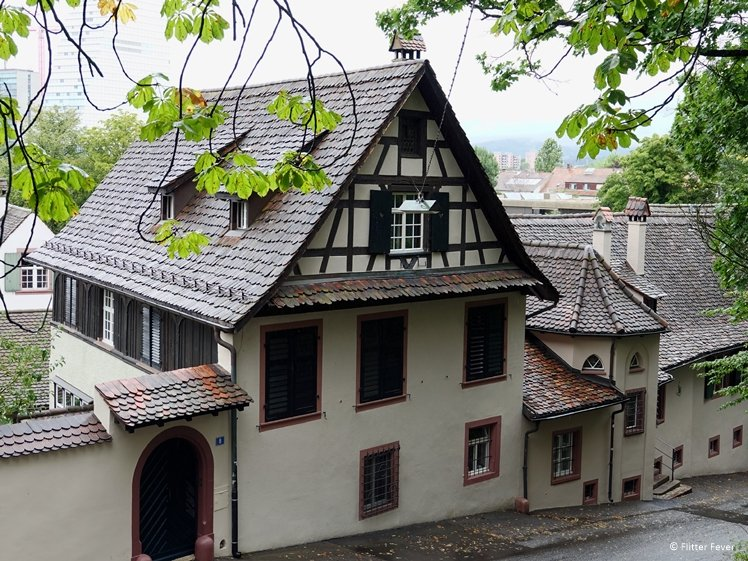 House on a steep street in St. Alban area Basel