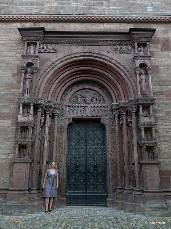 Huge side door of Basel Munster cathedral