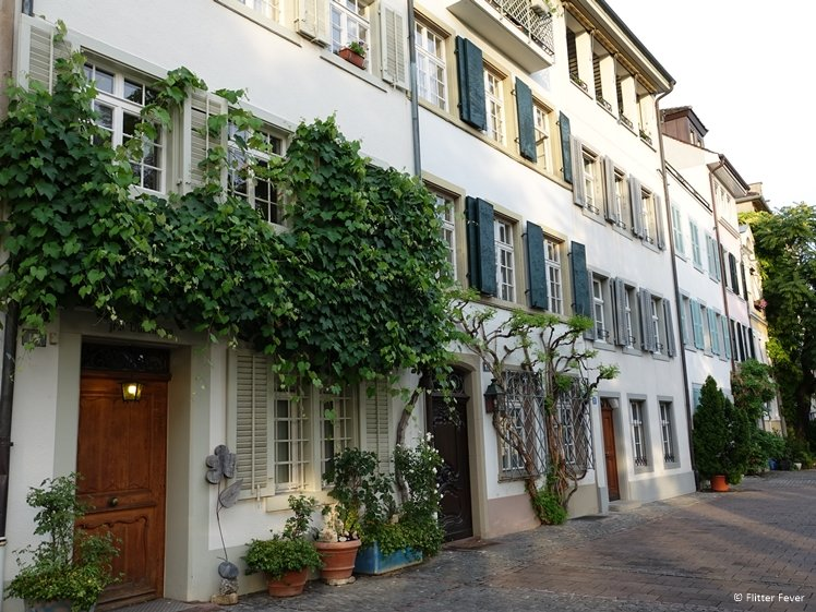Lovely houses at pedestrian area at the Rhine River Basel