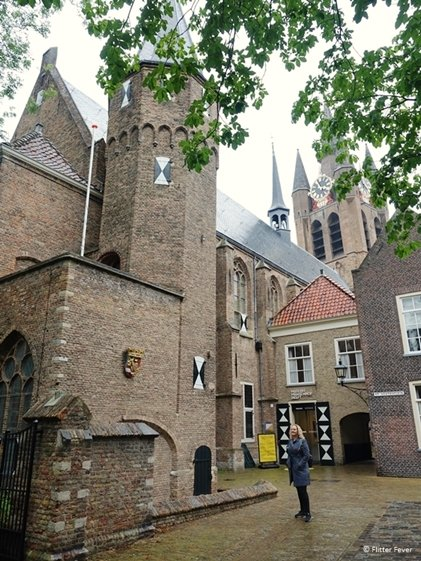 Prinsenhof Delft beautiful architecture with towers and checkered shutters