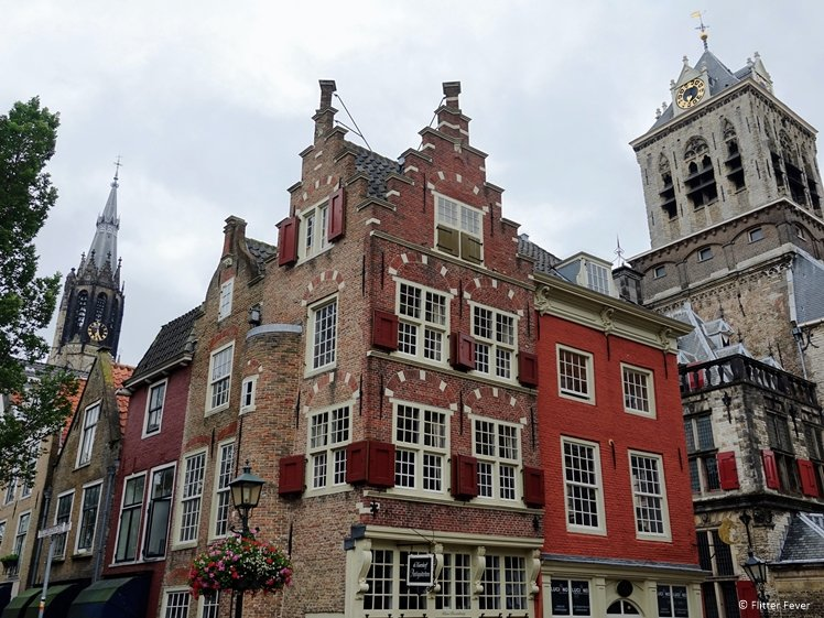 The New Church, De Kaerskorf and Town Hall in Delft