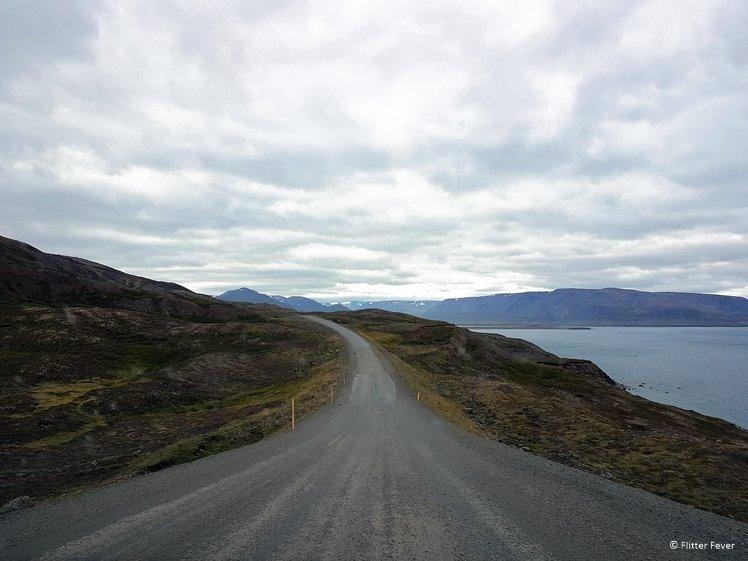 A piece of gravel road on the 76 between Siglufjörður and Langhus Farm