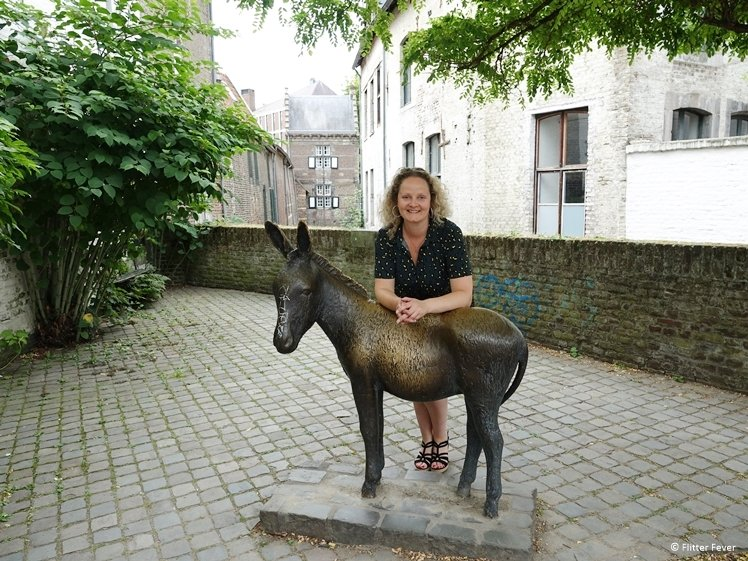 The bronze donkey of Maastricht Looiersgracht