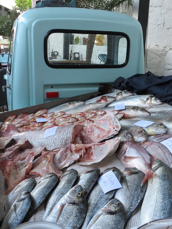 A truck load of fresh fish at Ferdi Baba restaurant in Alacati