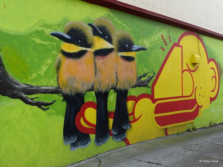 Birds street art Frakkastigur Reykjavik