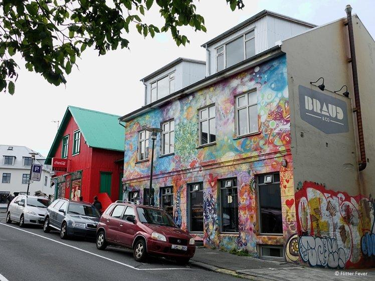 Braud Co bakery with street art in Reykjavik