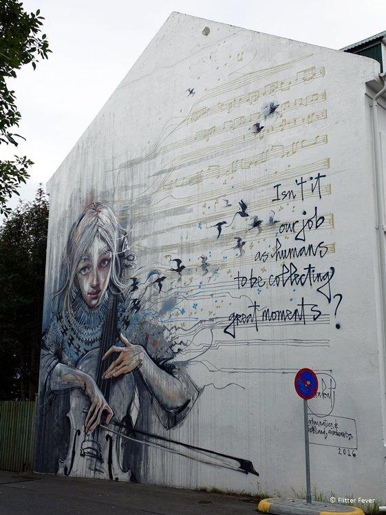 Cello girl street art Reykjavik