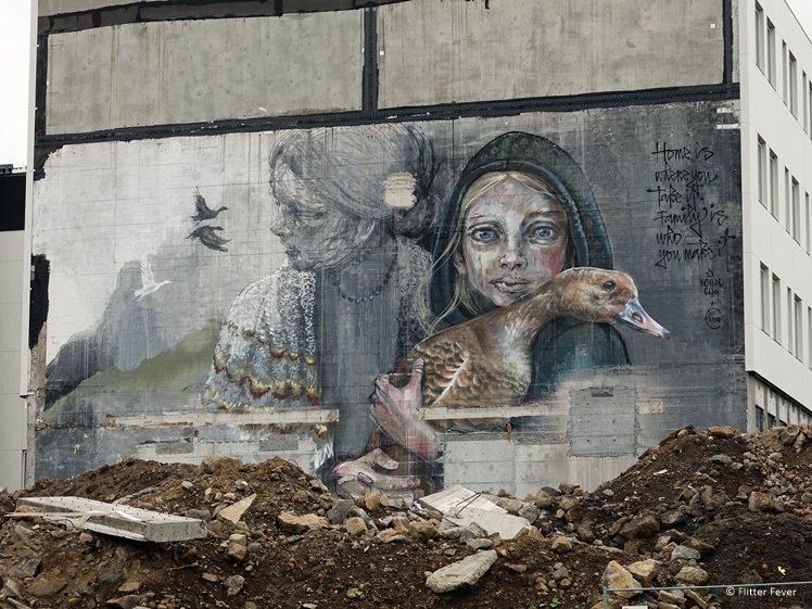 Duck girl street art Reykjavik