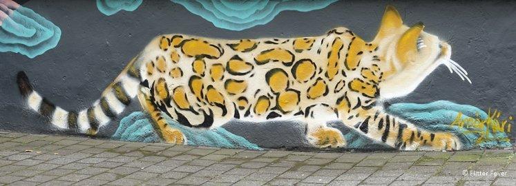 Leopard cat street art Reykjavik